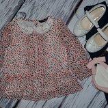 1 - 2 года 80 - 86 см Нарядная рубашка блузка блуза для модници с цветочками
