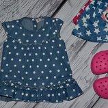 9 - 12 месяцев Футболка майка блуза джинсовая для модници в горох
