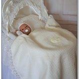Роскошный летний конверт одеяло плед для новорожденного на выписку Bonjour Бонжур