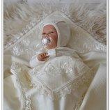 Шикарный летний набор комплект на выписку для новорожденного Лира 3 предм.