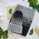 Детский комплект зима на флисе шапочка тыковка и снуд ручной работы градиент