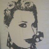 Женская футболка с принтом портрета. Нежный мятный цвет.100cotton, хлопок.46.М.