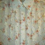 Нежная женская полупрозрачная блуза-кофта-рубашка в рюши и цветы. Кремовая.s-M.44-46.