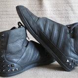 Мягкие черные кожаные сникерсы с шипами Y-3 Yohji Yamamoto Adidas 46