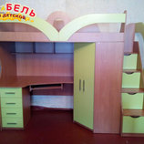 Кровать-Чердак с рабочей зоной, угловым шкафом и лестницей-комодом кл25 Merabel