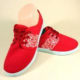 Яркие, модные мокасины, слипоны из текстиля на шнурках. Размер 36-41.