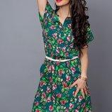 Летнее платье рубашка с цветами