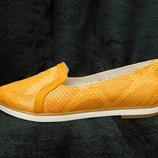Желтые балетки кожаные