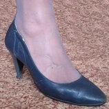 Кожаные туфли синего цвета, 38 р