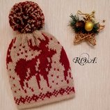 Вязанные зимние шапки с жаккардовым узором. Ручная работа