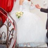 Шикарное свадебное платье актуально камни жемчуг ручная работа подарки