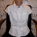 Белая рубашка с коротким рукавом,р.140 см