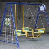 Детские качели трехместные, 5 в 1. качели баскетбольное кольцо гладиаторская сетка дартс 706/кл