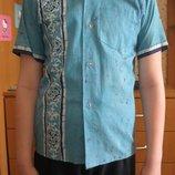 Голубая летняя рубашка с коротким рукавом из Индии на мальчика