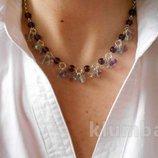 Бусы колье ожерелье цепочка серьги комплект флюорит натуральный камень