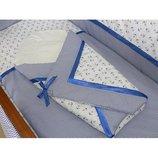 Детский спальный комплект в кроватку и Конверт на выписку Морячек