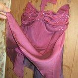 Женская воздушная кофта-майка-блуза из двух оттенков ткани фиолетовый бордо.Паетки.44-46.S-M.