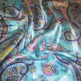 Женская летняя юбка абстракция,египетский огурец, голубая с отливом, ромб.46-48.M-L.