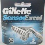 Настоящие оригинальные лезвия Gillette Sensor Excel упаковка 5 штук