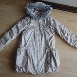 куртка 140-146 см. 10-11 г красивая оригинал девочке беж серая серебро George Джорж