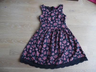 платье 8-9 лет шикарное цветки красные бант горошек серое кружево Young Dimension Янг Дайменшн