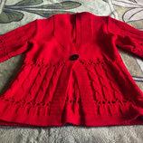 кофта-накидка -кардиган красная теплая S-M-L