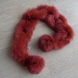 шарф мех кролик натуральный оранжевый розовый красный
