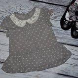 9 - 12 месяцев 74 - 80 см Нарядная рубашка блузка блуза для модници с бантиками