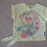 футболка 2-3 г майка желтая попугай камушки детская девочке BabyK