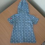 футболка джынсы майка лето голубая 122-128 см розовая девочке детская котон новая