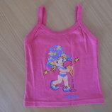 майка розовая 3-4 г котон чернь красивая розовая футболка Sevas бретельки мороженое девочка
