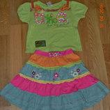 Яркий летний костюм для малЯркая летняяЯркая летняя юбка для маленькой принцессы Next.Футболка прода