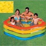Надувной бассейн Intex 56495, 185 см х 180 х 53 см, надувное дно, цвет голубой