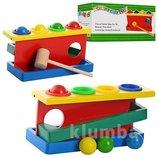 Деревянная игрушка Стучалка MD 0026 молоточек,шарики 4шт
