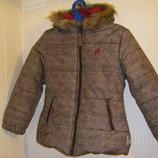 Сиреневая, коричневая с лошадкой осенне-зимняя куртка Тополино на рост 122 и 128
