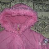 Розовая куртка с овечкой для малышки на 1- 2 года