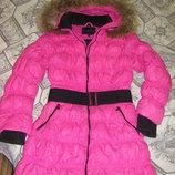 Теплая розовая зимняя куртка 146-164 см