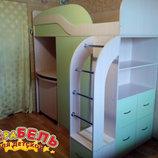 Кровать-Чердак с выдвижным столом, шкафом, полками и комодом к8-2 Merabel