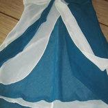 Легкая, летняя майка-блуза-разлетайка из полупрозрачной ткани.Зеленый белый.Новая.42-44, XS-S.