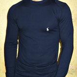 Футболка стрейчевая длинный рукав Polo мужская синяя