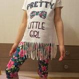Детские летние комплекты, костюм, футболка для девочки, туника для девочки, лосины , Турция