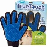 Перчатка щетка Тру Тач True Touch для вычесывания шерсти животным