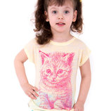 Детская футболка фуфайка для девочки Котик , Тм Габби , 110.116 см три цвета