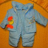 Теплый костюмчик демисезонный весна - осень на мальчика 3-6 мес.