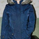 Синяя очень тёплая курточка парка