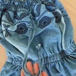сарафан джинсовый 7-8 лет шортики вышивка сарафан модный Kids II