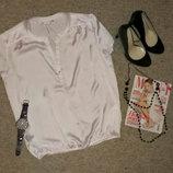 блуза атласная белая новая S-M-L oodji