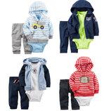 Новая коллекция. Хлопковые костюмы-тройки Carters на малышей