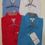 Рубашки слим короткий рукав с отделкой 6-12 лет разные цвета