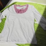 S.Oliver. Лонгслив, футболка с длинным рукавом. Белая с розовой вставкой.